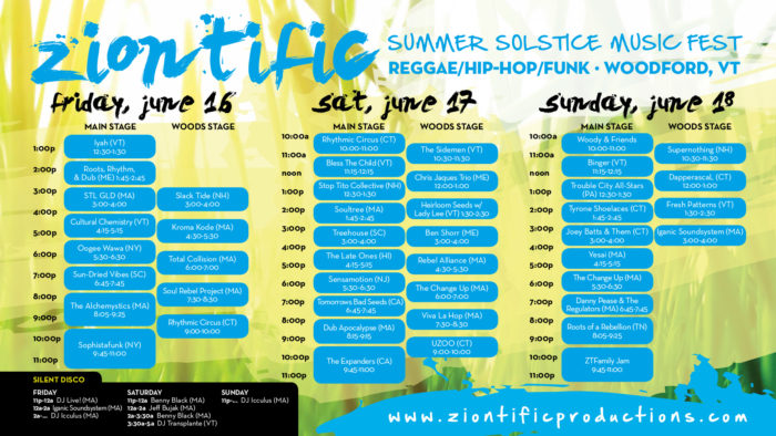 Ziontific 2017 Music Schedule