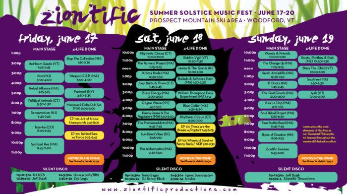 Ziontific Summer Solstice Music Festival 6 — Vermont — Schedule