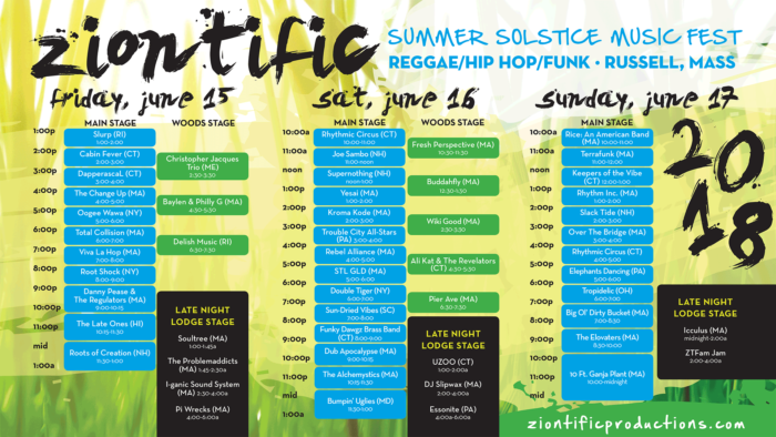 Ziontific Summer Solstice Music Festival Russell, MA Reggae Hip Hop Funk Family Friendly Festival Schedule